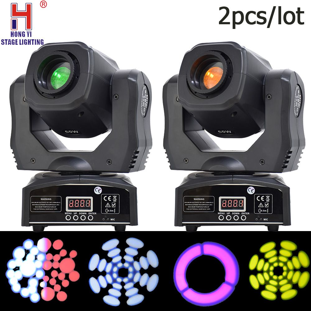 60w mini led DMX gobos moving head spot light club dj stage lighting party professional moving heads light 2pcs/lot