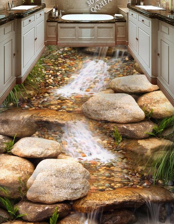 3D floor tiles custom creative 3d floor river rock stream non-slip waterproof self adhesive vinyl flooring