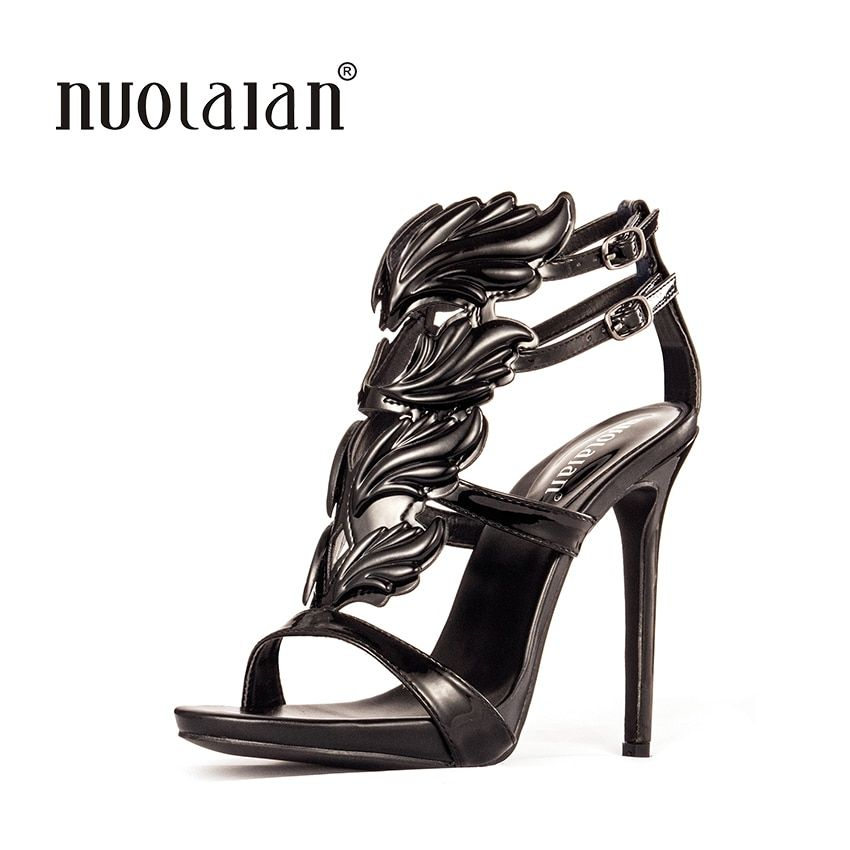 Black Pink Metallic Winged Gladiator Women Sandals 2018 High Heels Brand Sandals Summer Shoes Woman Sandalias Ladies Shoes Pumps