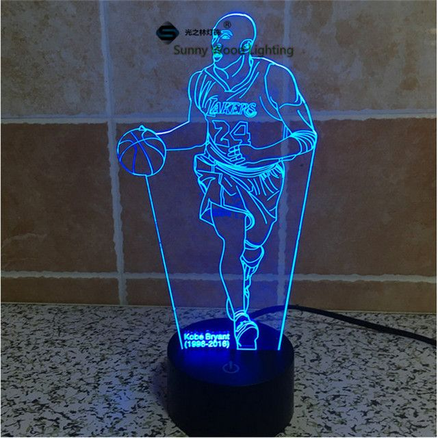 Kobe Bryant  touch switch LED 3D lamp ,Visual Illusion  7color changing 5V USB for laptop,  desk decoration toy lamp