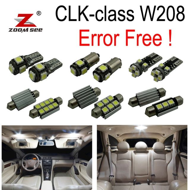 14pcs Error free LED lamp interior dome Light Kit For Mercedes Benz CLK W208 CLK320 CLK430 Coupe Convertible (98-02)