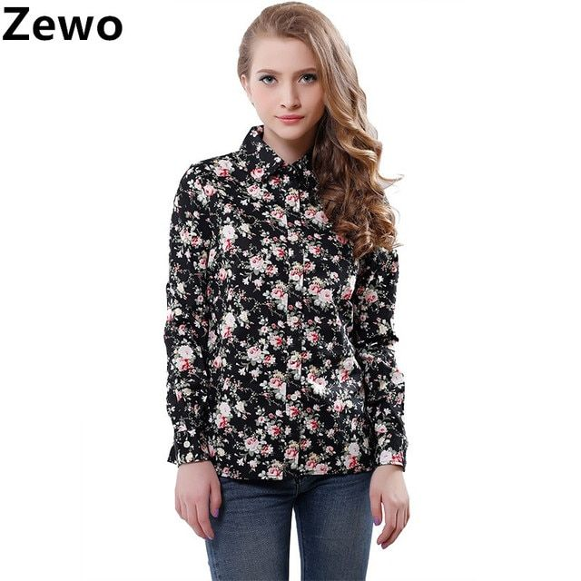 Zewo Fashion Women Work Wear Vintage Floral Print Cotton Blouses Long Sleeve Elegant Shirts Casual Slim Tops Blusa