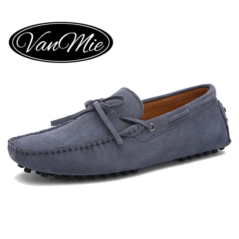 Vanmie 2017 New Arrival Casual Mens Shoes Suede Leather Men Loafers Moccasins Fashion Low Slip On Men Flats Shoes Big Size 38-47