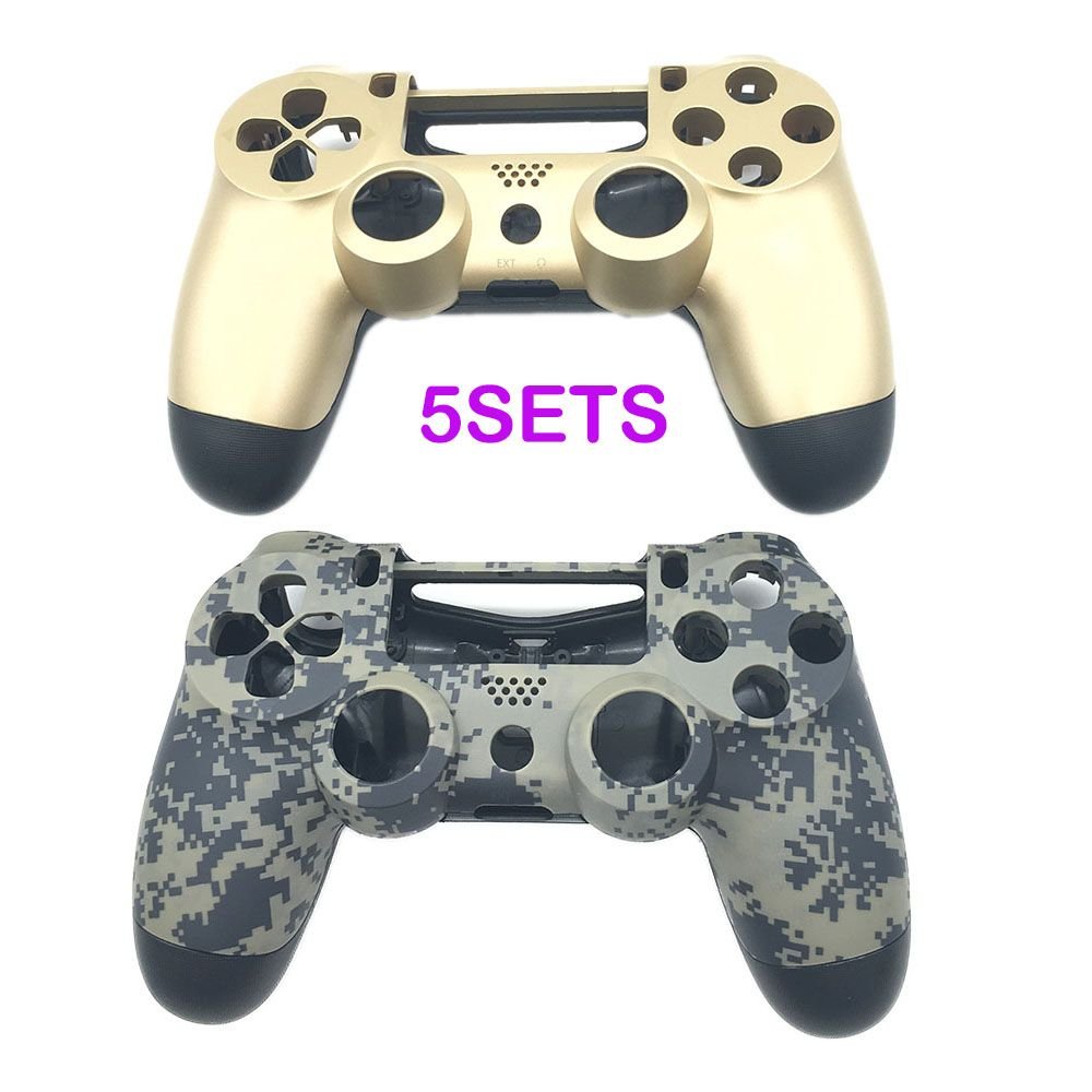 5SETS Gold &  Camouflage Matte Chrome Plating Housing Shell Case for PS4 Controller DualShock 4 Limited Verison Housing