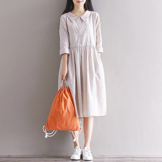 2017 New Spring and Summer Clothing Japanese Mori Girl Doll Collar Striped Cotton Linen Dress Women Long Sleeved Vintage Dresses