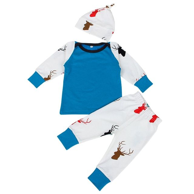 New Year Good Costume for Baby 3 pcs/set Christmas Clothes Deer Printing Suit Hat+Long Sleeve T-shirt+Full Length Pants Bebe Set