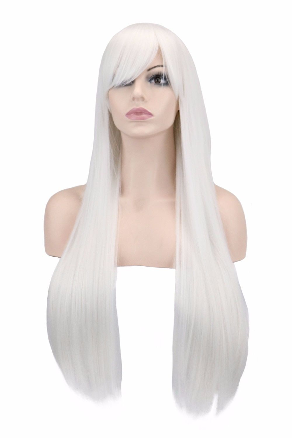 QQXCAIW Long Straight Women Men Costume Party Cosplay White 80 Cm Synthetic Hair Wigs