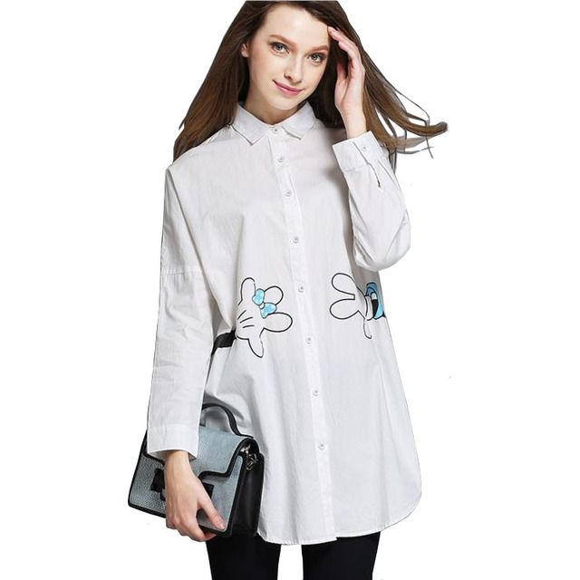 European Oversized Shirts Women Large Size Long Sleeve Cartoon Mickey Print Loose Cotton White Blouse Blusa Chemisier Femme