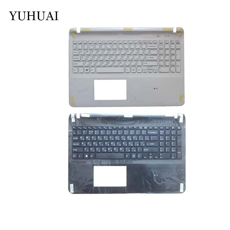 Russian keyboard FOR SONY VAIO SVF152 FIT15 SVF15 SVF153 SVF15E White/black RU Laptop C Shell palmrest cover