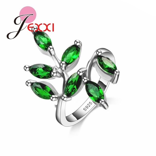 Mosaic Small Cute Fresh Leaves Rings 925 Sterling Silver Rings With Green Natural Gen stone Jewelry For Bridal Wedding