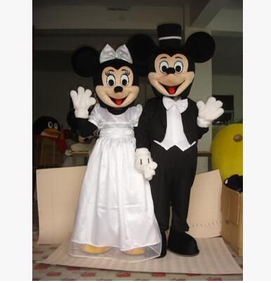 2Pcs/Hot mouse Mascot Costumes minnie mascot Adult size Cartoon thanks Halloween Carnival Costume