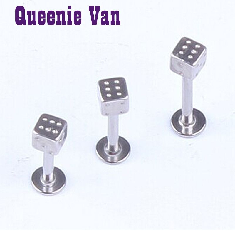 Body piercing jewelry 1.2 *3* 6 /8/10 stainless steel square mahjong plug earring nail piercing jewelry lip nipple ring piercing
