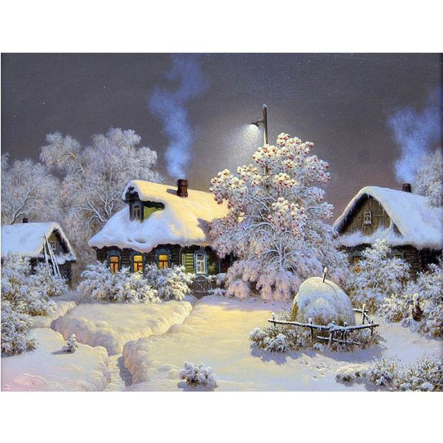 landscape Snow House Home Decoration 5D DIY Diamond Painting Resin Square Drill Cut Diamond Diamond Embroidery Needlework Y112