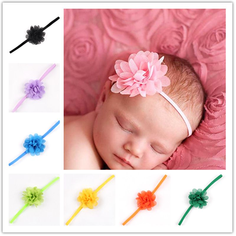 Baby headband baby Girls hair Accessories Chiffon Flower Headbands Photography Props Infant elastic hair band Accessories