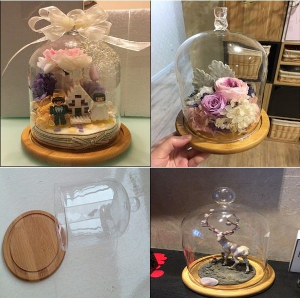 2016 new arrival wood crafts home decoration flower stand with glass dome  cupcake stand with glass dome
