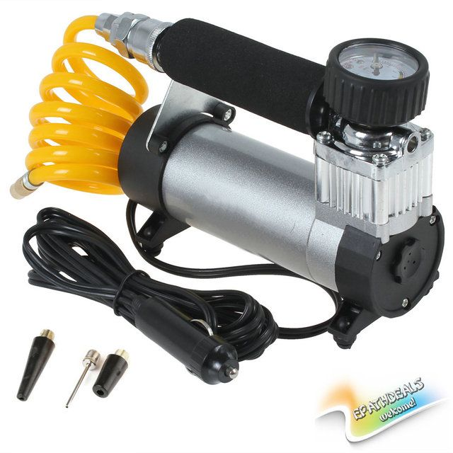 [SALE] Portable Super Flow Car Tire Tyre Inflator DC 12V 100PSI Metal Vehicle Auto Electric Pump Air Compressor