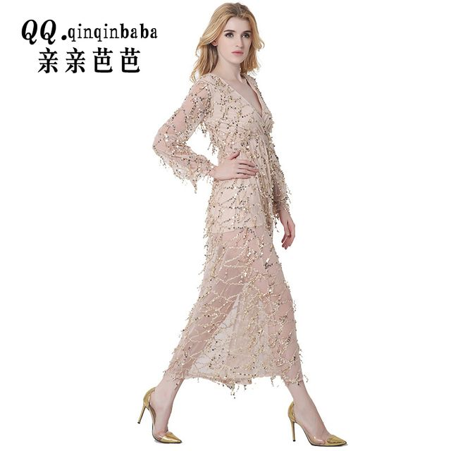 2017 Summer Dress Woman gold Vintage Great Gatsby Sequin Long Party Dresses Plus Size Lace Slip Sexy Embroidery Dress Vestidos