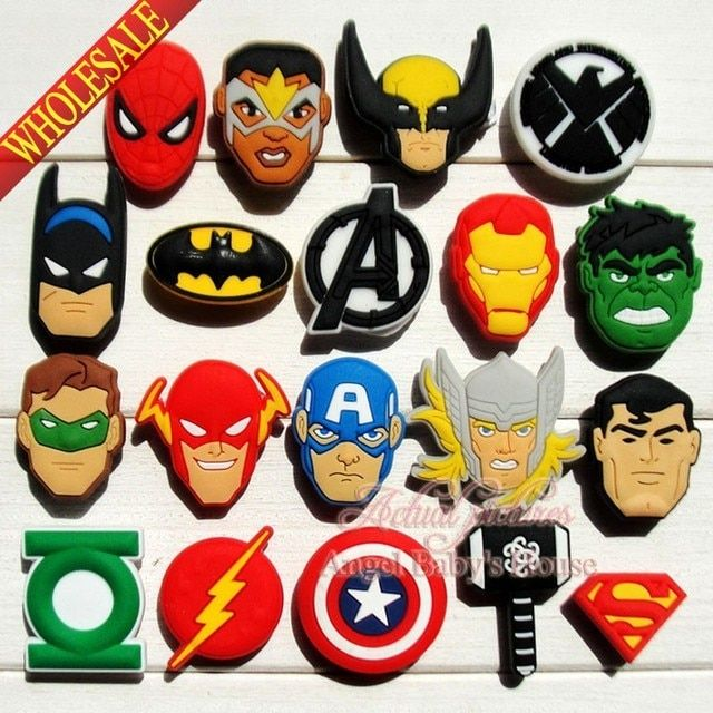 Mixed 38 Novelty The Avengers super hero High Quaility PVC shoe charms/shoe accessories/decoration fit for wristbands croc JIBZ