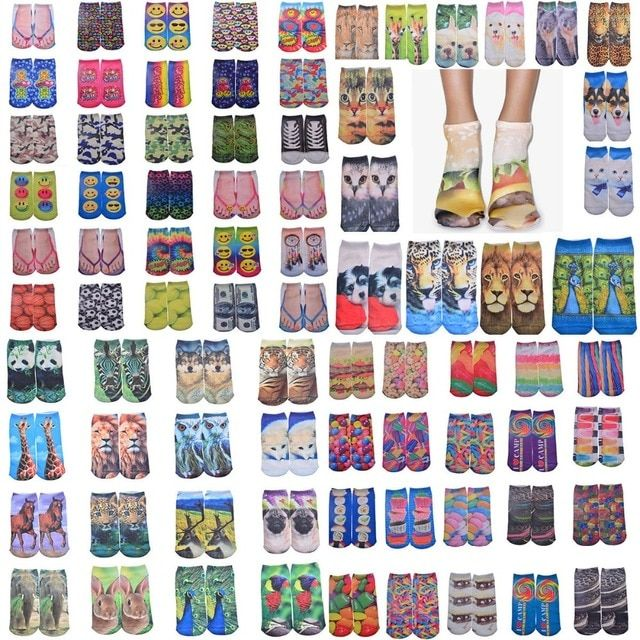 Wholesale Various Kinds Of 3D Printing Socks Cotton Knitted Funny Cute Patterns Socks For Men/Women/Child