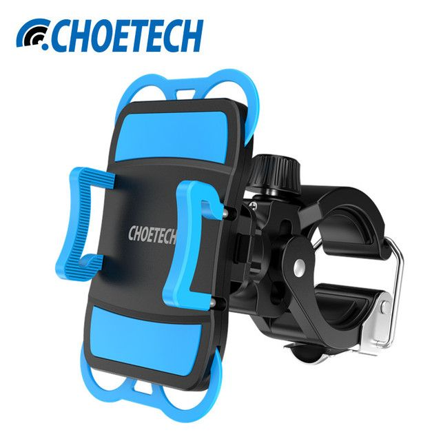 "New 1.9-3.9"" Adjustable Width Universal Bicycle Bike Mobile Phone Mount/Holder with 360 Degree Rotation and Rubber Strap"