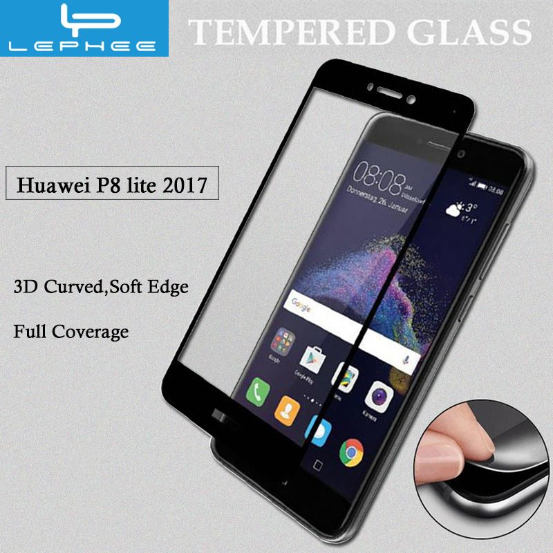 LEPHEE Honor 8 lite 3D Glass for Huawei P8 lite 2017 Tempered Glass P9 LITE 2017 Screen Protector 3D Curved Full Cover Film 5.2""