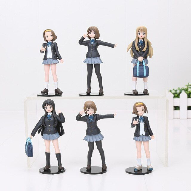 6pcs/set 10cm Japanese anime figure k-on!action figure best Christmas kids toys Akiyamn Mio Yui Hirasawa school