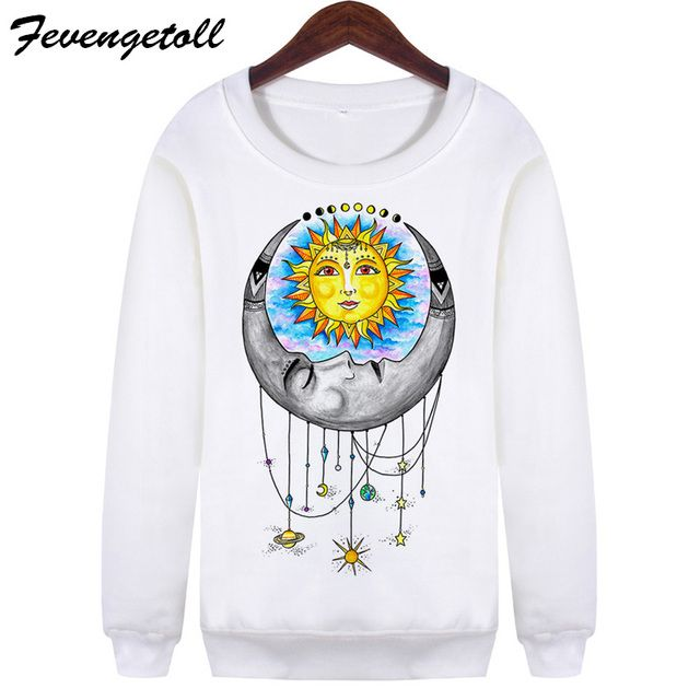 Fevengetoll White Harajuku Universal Love Crew Neck Hoodies Vintage Long Sleeve Moletom Sweatshirts Pullovers Plus Size WMH94