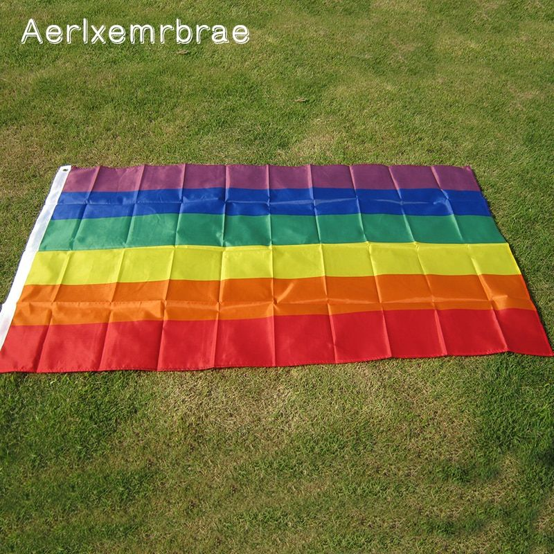 free  shipping  Aerlxemrbrae  Rainbow Flag 3x5 FT Polyester Flag Gay Pride Peace Flags    LESBIAN PRIDE PEACE Pennants Flag