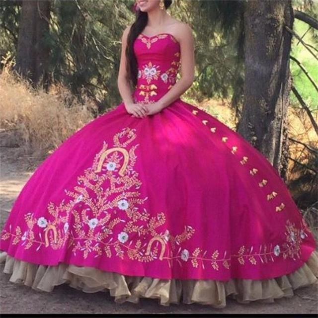 Elegant Fuchsia Quinceanera Dresses 2017 Sweetheart Beautiful Golden Embroidery Ball Gowns Prom Dress for Sweet 16 Years