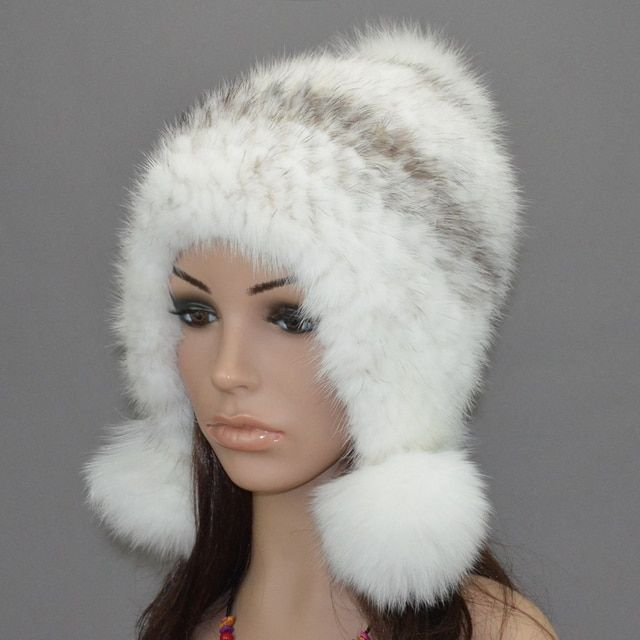 fur hats for women eaflap hat with natural mink /fox /raccoon fur autumn Winter warm ear protector cap knitted mink beanie H922