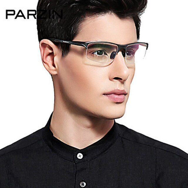 Parzin Alloy Eyeglasses Frame Men Ultra Light Aluminum Magnesium Glasses Frame Half Frame Male Optical Spectacles With Case 8081