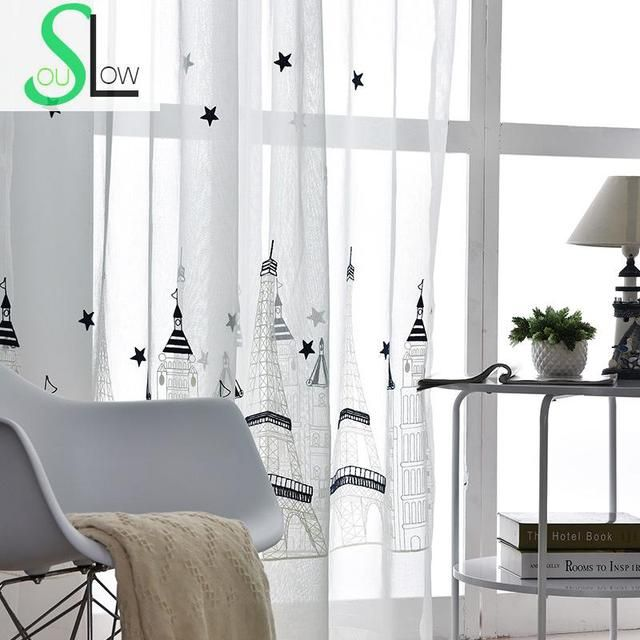 Slow Soul Castle Embroidery Curtain Living Room Bedroom Study Curtains For Children Baby French Window Embroidered Kitchen Tulle