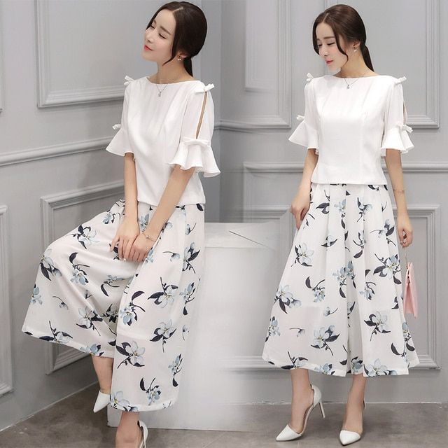 2 Piece Set Women White Ruffled Chiffon Blouse & Printing Wide-Legged Divided Skirts Pants Suits Clothing Sets Casual Outfit