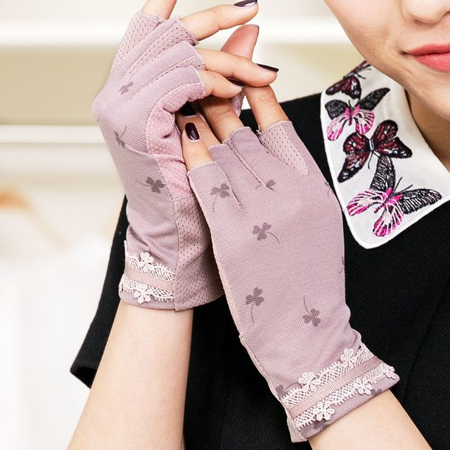 REALBY Female Summer Fingerless Gloves Vintage Lace Mittens With Flowers Print Breathable Gants Femme Smartphone Guantes Mujer