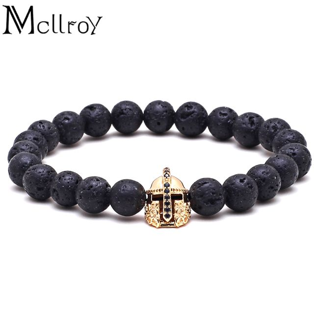 Mcllroy Men Bracelet Spartan Warrior Natural Stone Beads Round Lava Energy stone beads Nen bracelets bracelet men