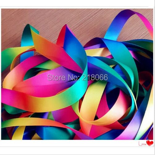 10 Yards Satin Ribbon Seven Colors Of  The Rainbow Color Ribbon Wedding Decoration
