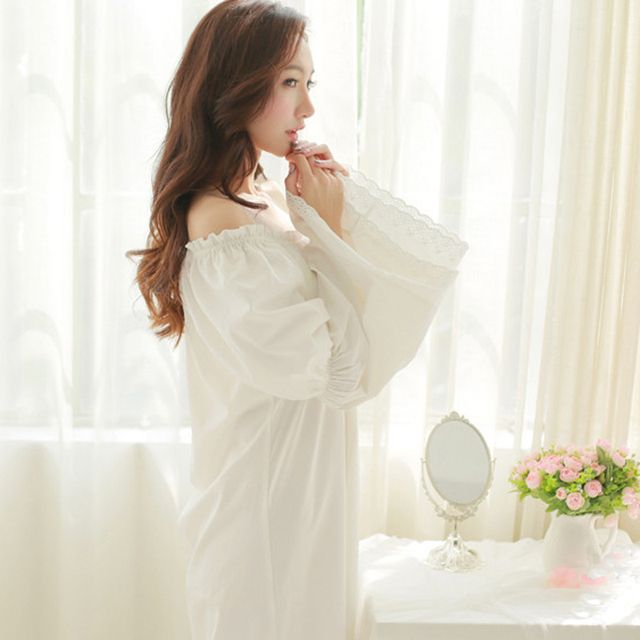 Free Shipping Pure Cotton Nightgown Princess Nightdress Royal pijama Ladies Sleepwear Women Long White nightwear roupao feminino
