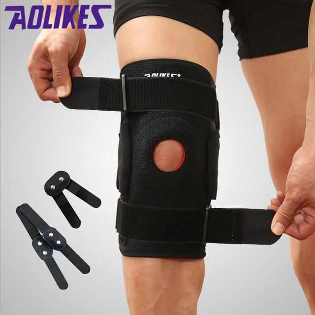 AOLIKES Knee Brace Polycentric Hinges Professional Sports Safety Knee Support Black Knee Pad Guard Protector Strap joelheira
