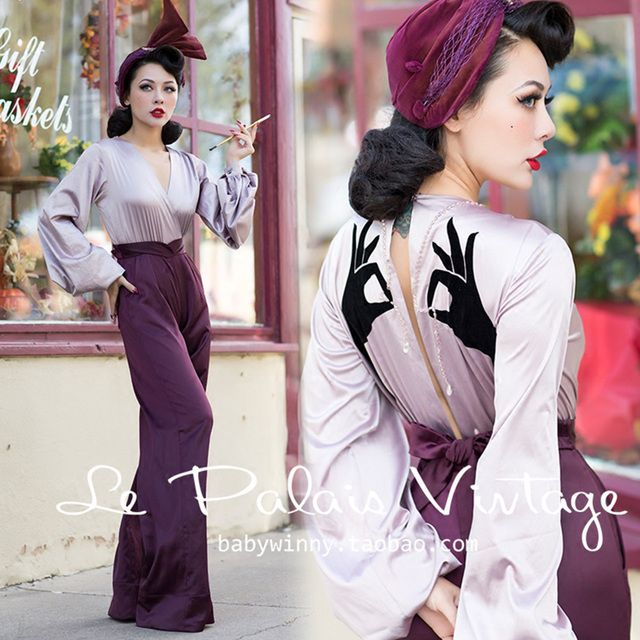 FREE SHIPPING Le Palais Vintage Limited Edition Elegant Purple Lantern Sleeve Vertical Sense Beading Jumpsuits Women Rompers