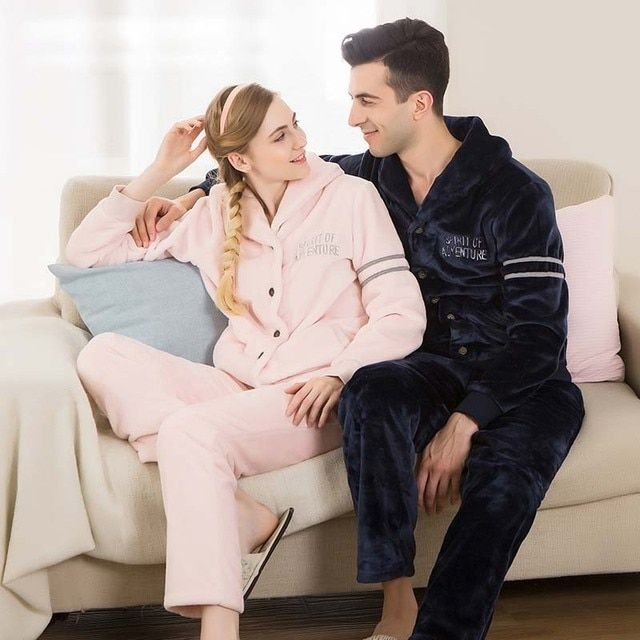 2016 New Arrival Winter Pajamas For Couples Long Sleeve Flannel Pajama Sets Casual Pajamas Home Cloth Camisolas de dormir PA1376