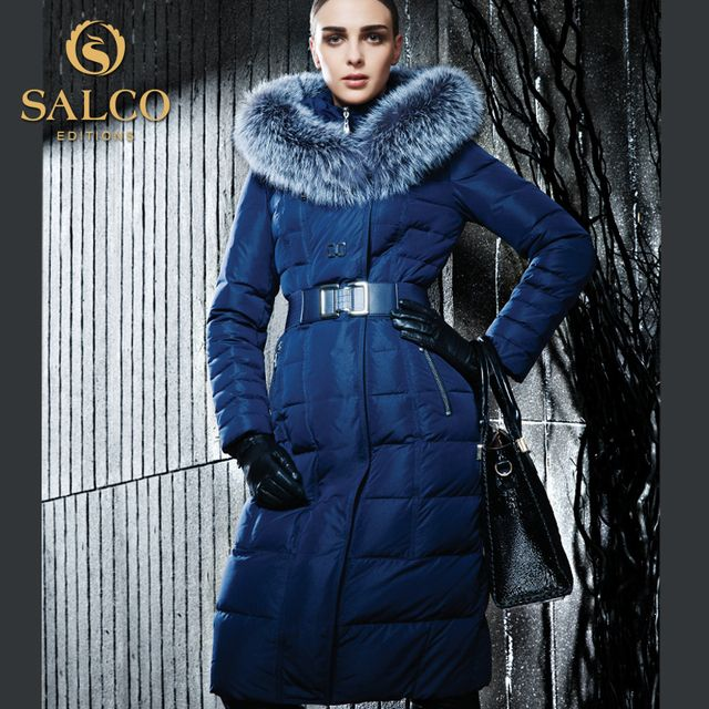 SALCO Free shipping In 2016 ms product launches in the warm winter long sleeve fox collar long hooded down jacket