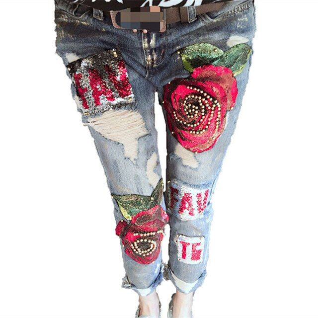 3D Boyfriend Jeans Denim Sequins Beading Pencil Jeans Women Club Style Street Holes Ripped Jeans femme 2017 New Fashion