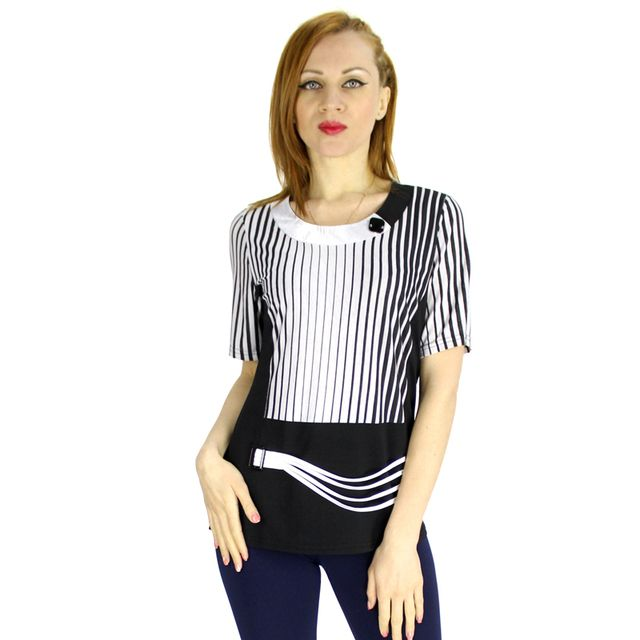BFDADI New 2016 Fashion Brand T Shirt Women Stitching Stripes Printed T-Shirt Novelty Tops For Women Plus Size XL-5XL 9199
