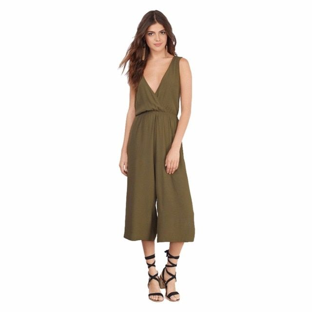 2016 Summer Calf-Length Pants European Style Deep V-Neck Jumpsuits For Women Clothing Army Green Casual Loose Rompers