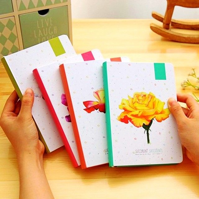 Creative Flower Hardcover blank white pages Illustration Graffiti writing notepad filofax diary agenda planner a5 notebook gifts