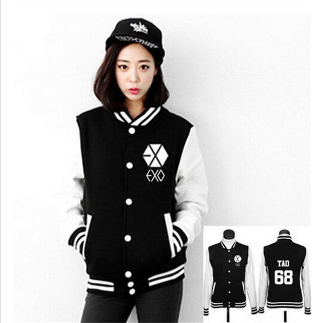 2017 EXO Kpop Boys Luhan Kris Couple Sweat Shirt Tracksuit Women Hoodies Sweatshirts Outerwear Baseball uniform Jacket Female