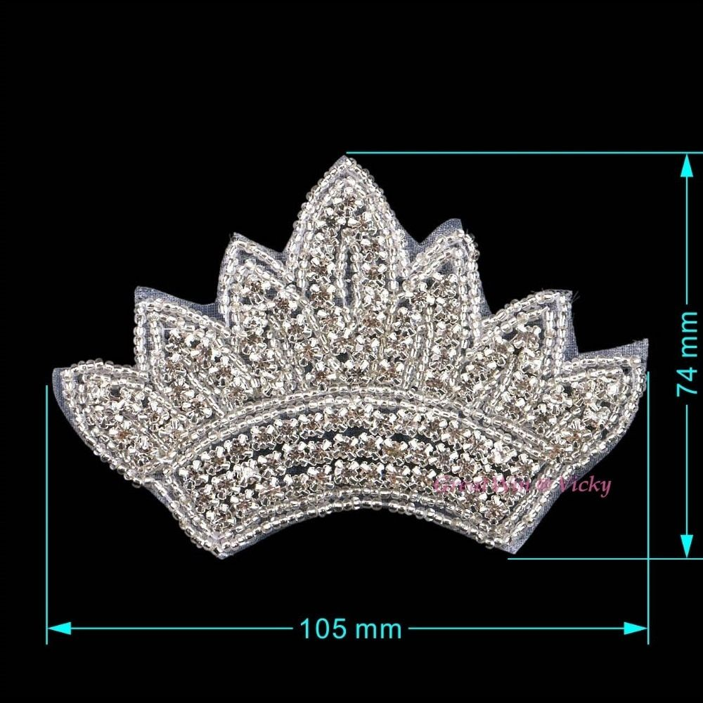 Sew On Crystal Crown Appliques Rhinestone Sew On Clothes Patch Iron-On Dress Patches For DIY Hotfix Motifs Crystals