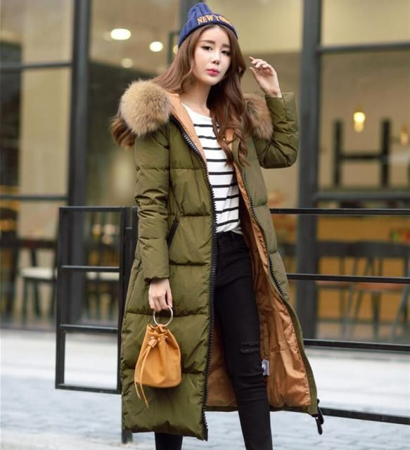 Plus Size Winter Fashion X Long Down Parka White Duck Down Jackets Natural Fur Trimed Cap Women X Long Loose Thick Warm Outwear
