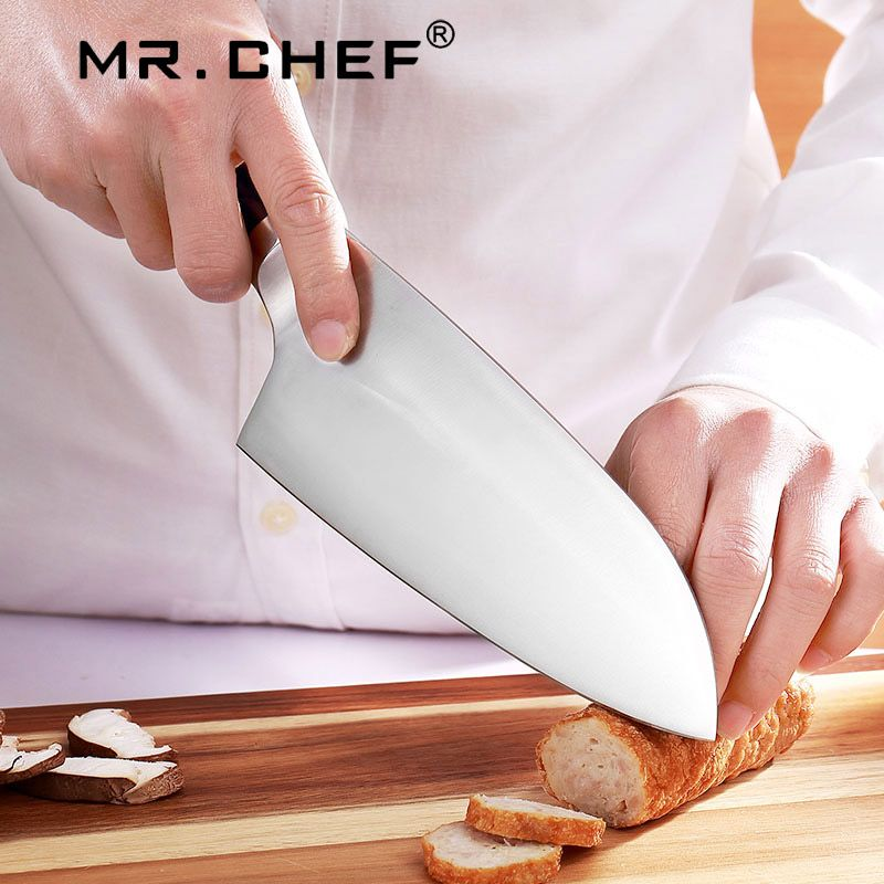 Professional 7.5 inch Cleaver Kitchen Santoku Knives Chefs Knife Germany Steel X50CRMOV15 Very Sharp abs Handle White & Black