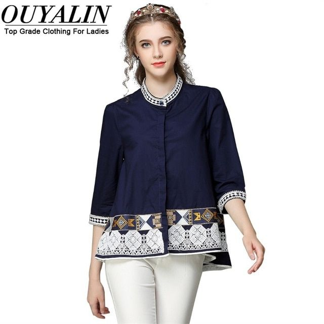 Ouyalin New Spring Cotton Ethnic Style Women Plus Size Blouse Stand Collar Loose High-end Quality Blusas Female 5XL Casual Shirt